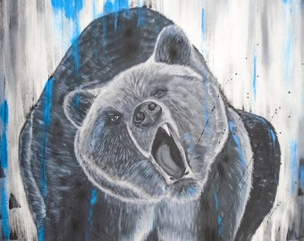 Reproduction on canvas, bears 24 x 24 in