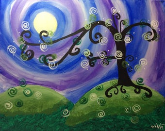 """Original 16X20 Acrylic Painting """"Whimsical Tree"""" on Stretched Canvas"""