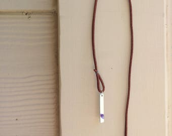 Amethyst Stone Leather Necklace