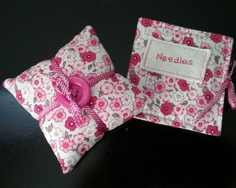 Sewing needle case and pincushion, set, sewing gift