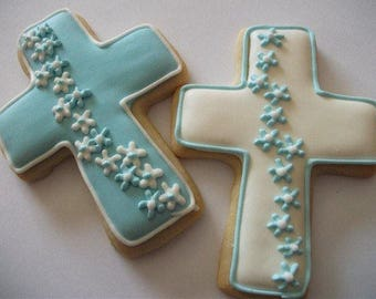 Communion favors | Baby boy Baptism | Cross cookies | Christening party favor