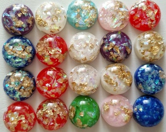 10/20pcs 12mm Mix Colors Built-in metal foil Flat back Resin Cabochons Cameo