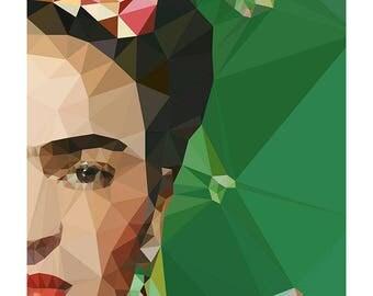 Frida Khalo geometric print (emerald)