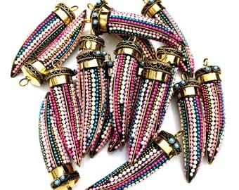 Colorful Boho Horn Pendant