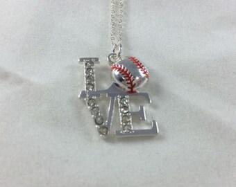 Baseball LOVE Bling Necklace Pendant