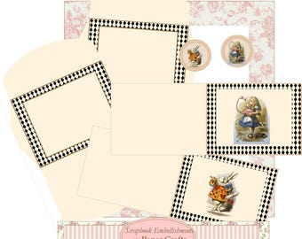 Alice in Wonderland Cards & Envelopes Digital KIT