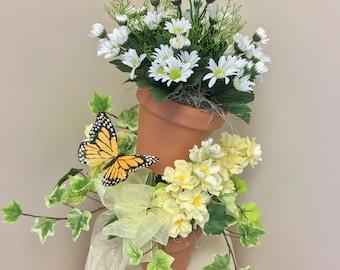 Terracotta, topiary, artificial flowers, summer arrangement, spring arrangement