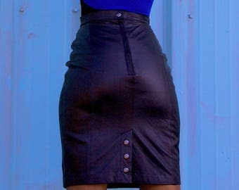 Leather Vintage Skirt • 1990s • 90s • 1980s • 80s • Black High Waist Skirt • Pencil Skirt • Midi Skirt • Retro Fashion • A Line Skirt