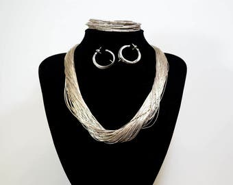Sterling Liquid Silver Necklace, Earrings and Bracelet Set-Native American