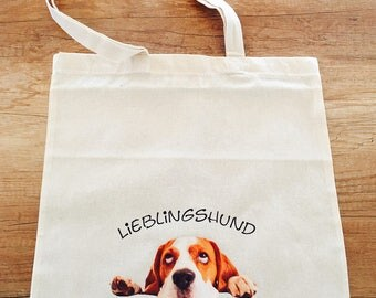 "Cotton bag ""Favorite dog BEAGLE"" with long handles"