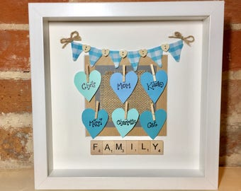 Personalised Family Names Scrabble Art Frame