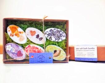 Sea Salt Bath bomb Gift Box. Epsom Salt, Dead Sea Salt, Bath Bombs, Bath, Gift, Natural, Pink Himalayan Salt, Essential Oils, Birthday,