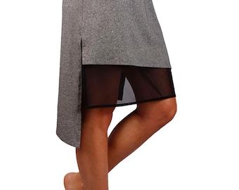 Mesh layer knee length asymmetrical skirt with bamboo fabric - Lois Skirt
