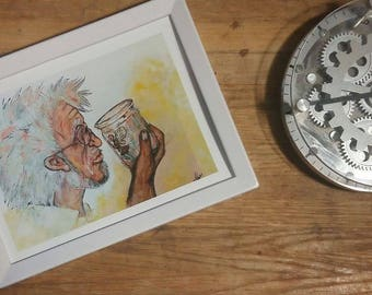 Acrylic painting of Old man and Fairy (Art Prints)