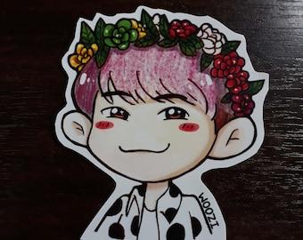 S207 Woozi Flower Crown Sticker