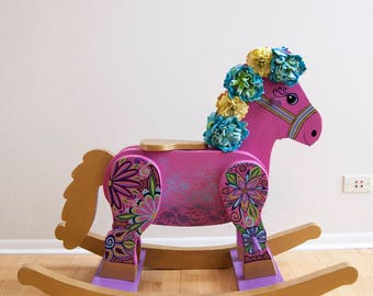 Email for shipping quote. See below. Rocking Horse, Wooden Rocking Horse, Antique Rocking Horse, Hand painted Rocking Horse, Kids Furniture,