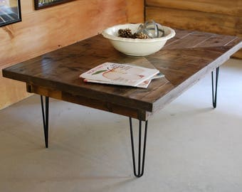 Mid Century Modern Coffee Table Hairpin Legs Industrial Furniture Square Coffee Table