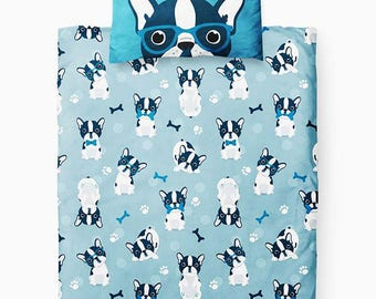 Nursery bedding set - quilt and pillow, Bulldogs bedding, Minky bedding set, Baby bedding set, Modern baby bedding