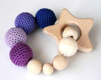 Star crochet baby teether wooden teething toy