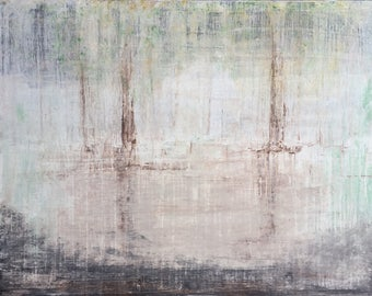 """Original Contemporary Art by Roger König """"1132 abstract forest landscape No.4"""" , 39"""" x 51"""" Acrylic and Clay on Canvas"""