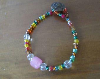 Bronze Button multi colored beaded bracelet