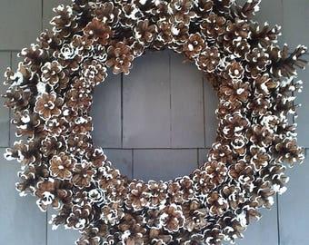 Pinecone Wreath Wedding White / Home Decor / Wedding Decor