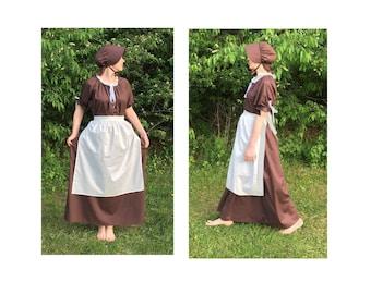 Size 2XL Complete Outfit - Womens Pioneer Trek Colonial Frontier Prairie Pilgrims Renaissance Reenactment Civil War Dress Costume Adult Size