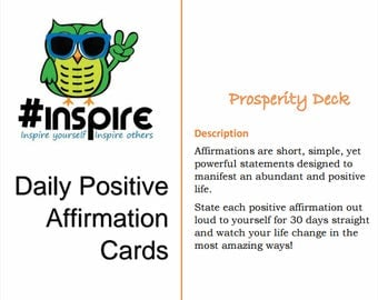 Printable Daily Positive Affirmation Cards - Prosperity Deck!