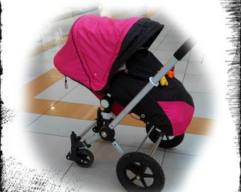 Hood and cover foot pocket, canopy pink and black ,Sun Canopy for Bugaboo Frog, Cameleon Stroller, big, bag