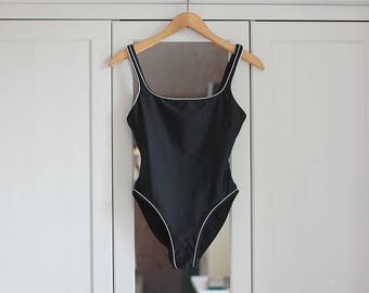 1980s Swimsuit One Piece Black Swimsuit Women Bathing Suit Women Swimwear