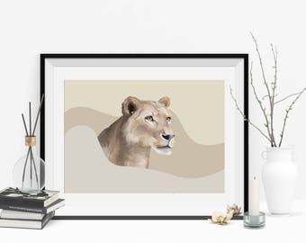 Portrait digital Lion personalized custom from photo to imprimer(textile,papeterie,mug,objet,décoration gateau..)