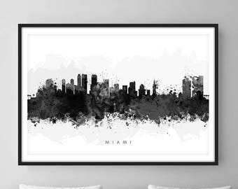Miami Skyline, Miami Florida Cityscape Art Print, Wall Art, Watercolor, Watercolour Art Decor