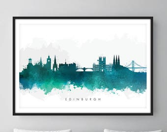 Edinburgh Skyline, Edinburgh Scotland Cityscape Art Print, Wall Art, Watercolor, Watercolour Art Decor [SWEDI07]