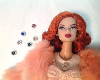 Fashion Royalty Barbie Silkstone doll crystal magnetic brooch pins 'The Multi-Color' set