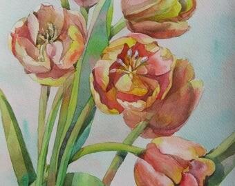 Floral Fine Art Watercolor Painting Tulips Flower Art - Original Watercolour Home Decor