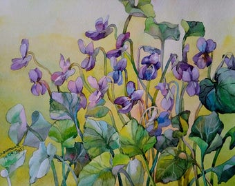 Floral Fine Art Watercolor Painting Viola - Flower Art - Original Watercolour Home Decor