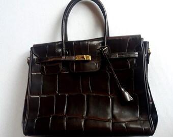 Vintage french bag.Genuine leather. Hermes Birkin style. 37 cm