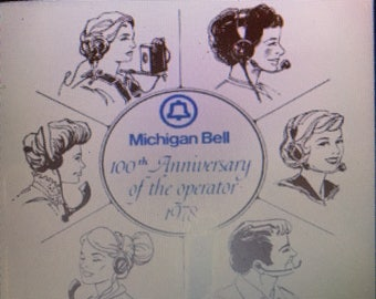 Vintage Michigan Bell Ceramic Tile for 100th Anniversary of the Operator 1978
