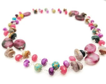 "36"" Purple and Fucsia Quartz Multi-Stone Necklace"