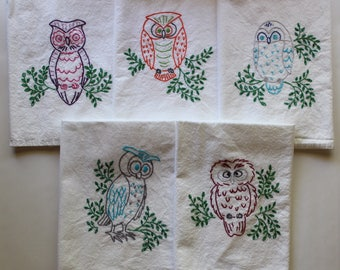 Hand Embroidered Tea Towels (Set of 5) Owls