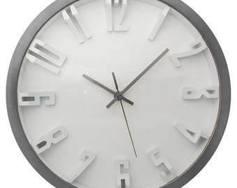 12 inch Silver Finish Wall Clock with Raised White Numerals