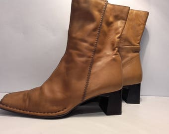 MARINA MURARO Vintage women's brown leather boots chunky heel zipper shoe lining square toe comfortable size 8