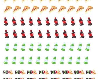 Pizza Night Stickers, pizza night planner stickers