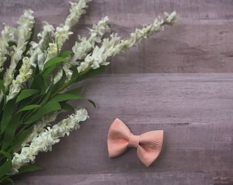 Mary Pink Leather Bow