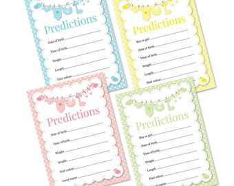 Baby Shower Predictions - Pack Of 16 - Available In 4 Different Colours (Yellow, Green, Blue, Pink) (with envelopes)