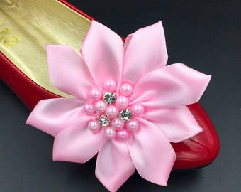 Shoe Clips Accessories, Pink Flower Shoe Clips Parts,Ribbon Pearls Flowers,Hair clips accessories