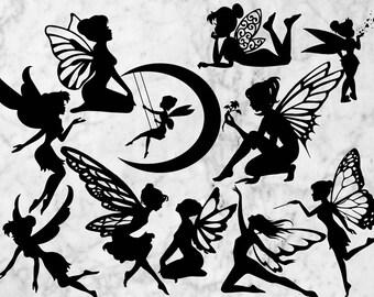 Fairies Svg Clipart, Fairy vector, dfx, svg, eps & png, Fairies cutfiles, Fairy silhouette for cricut explore, Printable fairies SVG, png.
