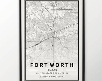 Fort Worth City Map Print, Modern Contemporary poster in sizes 50x70 fit for Ikea frame All city available London, New york Paris Madrid