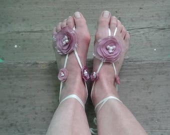 Summer flowers barefoot sandals , Beach Wedding, Foot Jewelry, Anklet, Bridal footless sandal, Bridal Party accessories, Bridesmaid gift ,