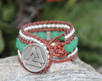 Green N Brown Leather Cuff Bracelet, Cuff Bracelet, Gemstone Bracelet, Leather Cuff Bracelet, Green Aventurine Gemstone